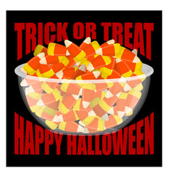 Trick or treat happy halloween bowl and candy vector
