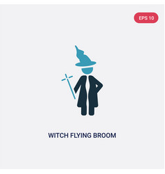 two color witch flying broom icon from people vector image