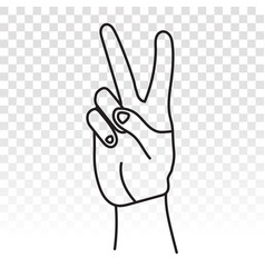 Two-finger gestures sign icon for victory vector