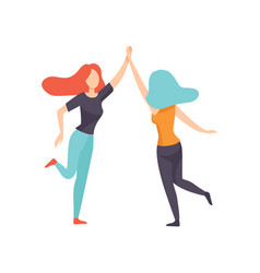 Two happy women friends giving high fivehappy vector