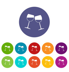 Two wine glasses icons set flat vector