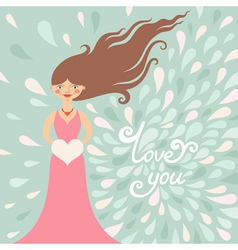 Valentine greeting card with girl vector image