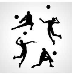 Volleyball silhouettes collection vector