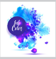 watercolored splash blot in blue and violet color vector image