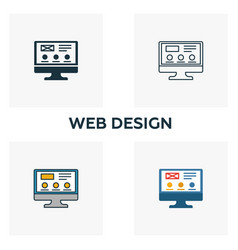 web design icon set four elements in diferent vector image