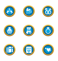 Wedding formality icons set flat style vector