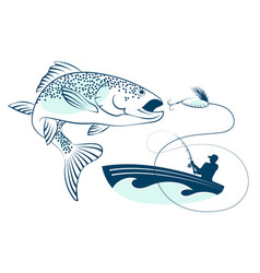 fish jumping and a fisherman in a boat vector image vector image
