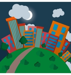 Flat Style Urban Landscape at night vector image