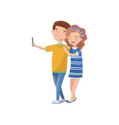 happy couple in love making selfie photo cartoon vector image