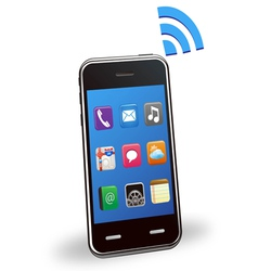 smart phone with wireless vector image vector image