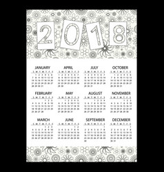 2018 simple business wall calendar with outline vector