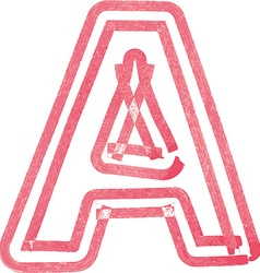 Capital letter a drawing with red marker vector