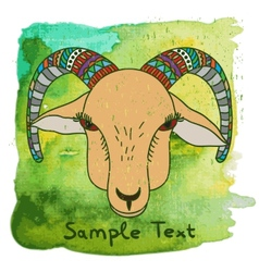 Hand drawn goat on watercolor background vector