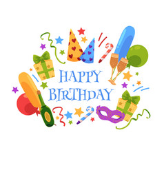happy birthday greeting card with party objects vector image vector image