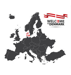 map of europe with the state of denmark vector image