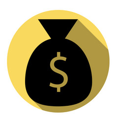 money bag sign flat black vector image vector image