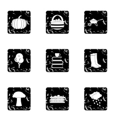 Season of year autumn icons set grunge style vector image vector image