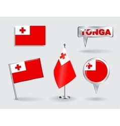Set of Tonga pin icon and map pointer flags vector image vector image