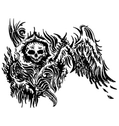 skull tattoo winged vector image