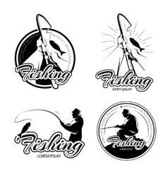 Vintage fishing logos emblems labels set vector image vector image