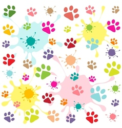 Colored pattern with paw prints and blots vector
