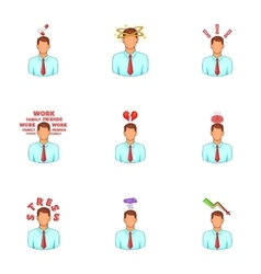 Depressed and stressed manager icons set vector image vector image