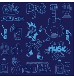 Doodle of music on blue backgrounds vector image