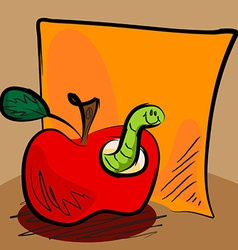 Grungy apple worm cartoon with sticky vector image vector image