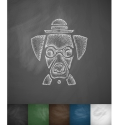 Hipster dog icon hand drawn vector