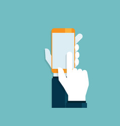 human hands with touching smartphone vector image
