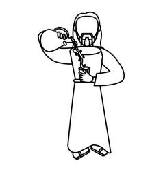 jesus christ miracle water wine outline vector image