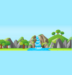 Nature scene with waterfall and mountains vector
