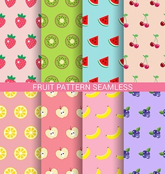 Sweet fruit seamless pattern set vector image vector image