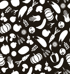 vegatables and fruits pattern Black and Wihte vector image vector image