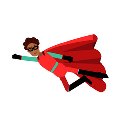 young black man in classic red superhero costume vector image vector image