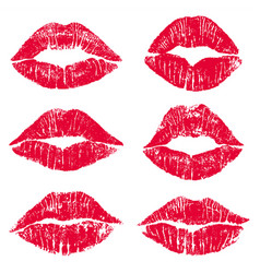 female lips kiss print set vector image