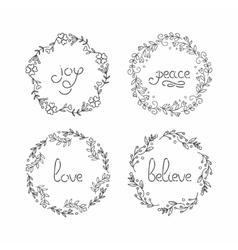 Floral wreath set line lettering greeting vector