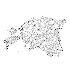 map of estonia from polygonal black lines and dots vector image vector image