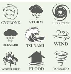 Natural disaster icons set vector