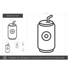 soda can line icon vector image vector image