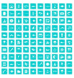 100 marine environment icons set grunge blue vector