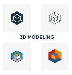 3d modeling icon set four elements in diferent vector image
