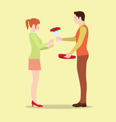 a man gives his girlfriend flowers and a gift vector image