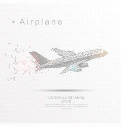 airplane digitally drawn low poly triangle wire vector image