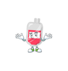 An image bag blood in grinning mascot vector