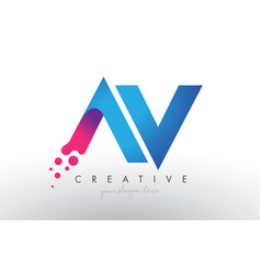 Av letter design with creative dots bubble vector