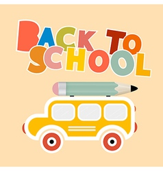 Back to School Colorful Title with Yellow Bus vector image