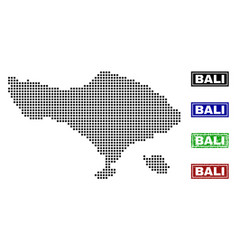 Bali map in dot style with grunge title stamps vector