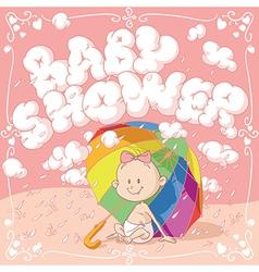 bashower cartoon invitation vector image