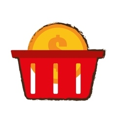 Basket buy coin dollar sketch vector